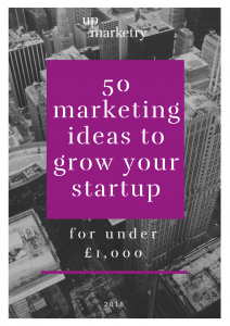 Front cover of '50 marketing ideas to grow your startup' guide